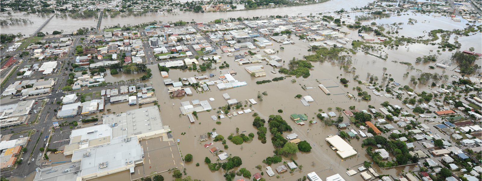 Aerial view of bundaberg under flood water
