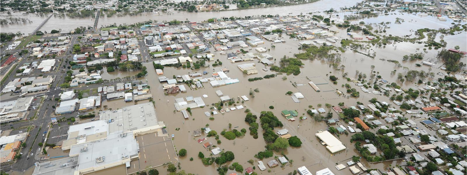 Aerial view of bundaberg under flood water web