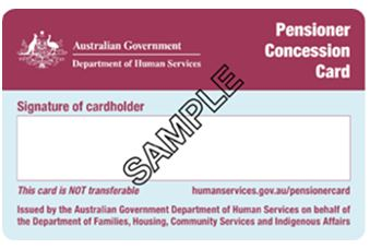 Centrelink pensioner concession card