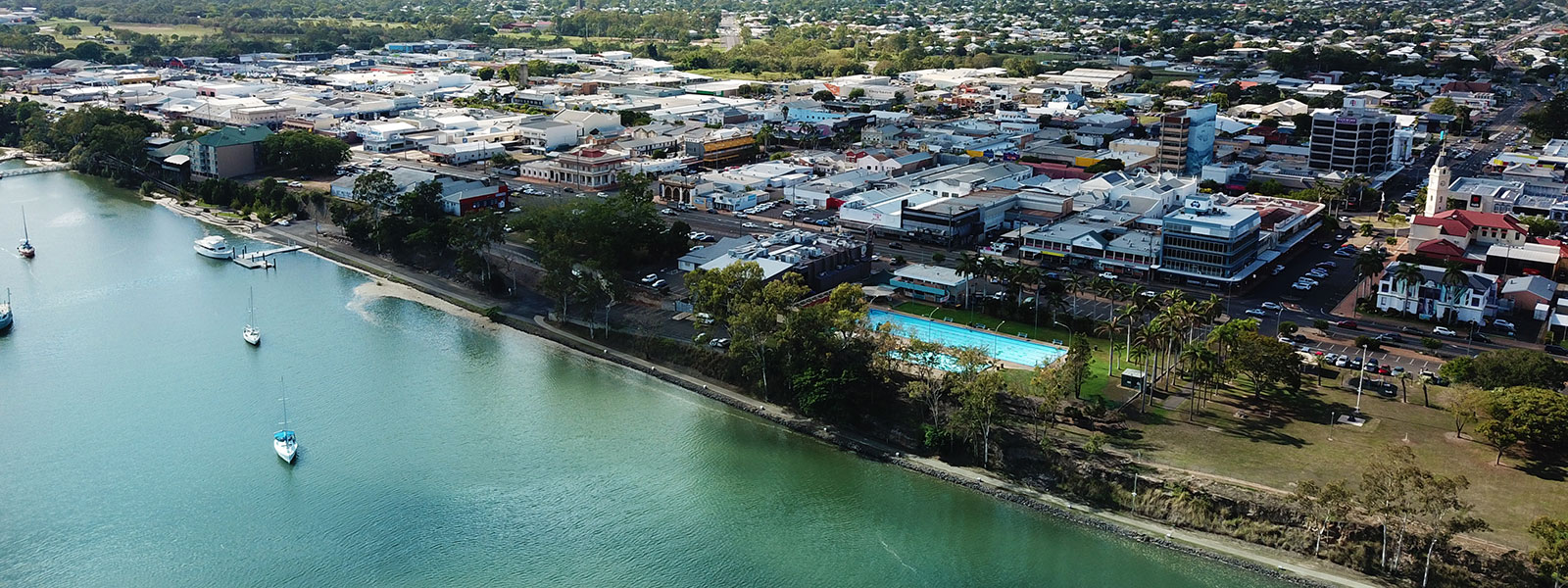 Invest in bundaberg drone image of city